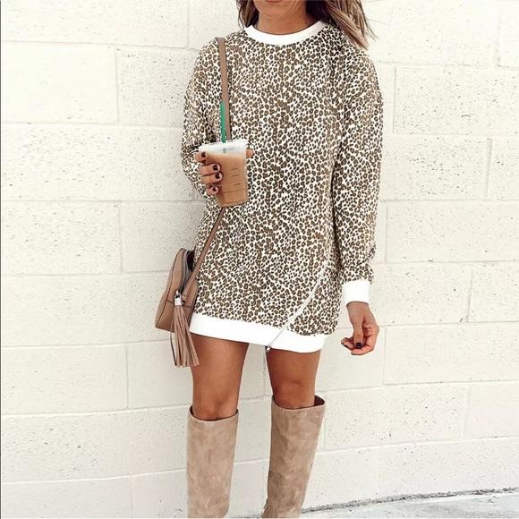 Dresses & Skirts - ❤️ Leopard sweatshirt dress white brown new M